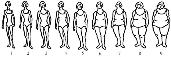 Image for Stunkard Adult Female Scale. Adapted from Stunkard, A. J., Sorensen, T., & Schulsinger, F. (1983).Association for Research in Nervous and Mental Disease, 60, 115-120.