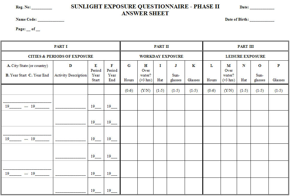 Image for Sunlight Exposure Questionnaire - Phase II Answer Sheet